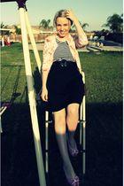 white American Apparel shirt - black Target skirt - black thrifted belt - pink R