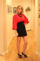 red vintage dress - black Ebay skirt - black JC Penny shoes