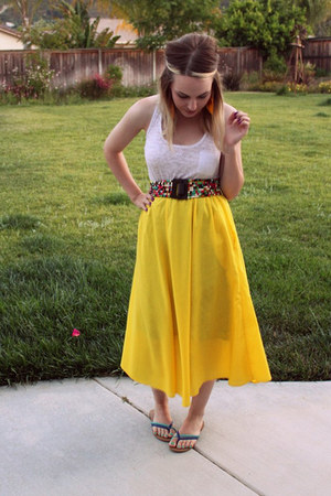 white kohls top - yellow thrifted skirt - turquoise blue Victorias Secret sandal
