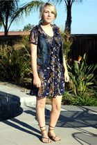 blue Target dress - blue Fossil vest - brown Old Navy shoes