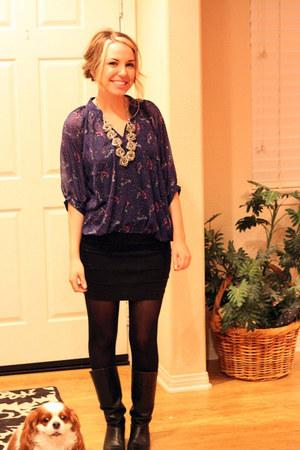 black Ebay boots - blue Chrlotte Russe shirt - black Ebay skirt