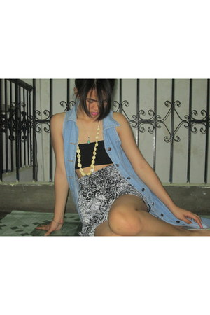 denim dress hokos dress - cotton skirt Fleurish skirt - black tube bra bench bra