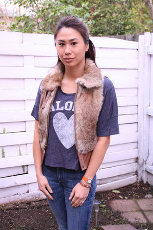 light brown fur vest BCBG vest - blue skinny jeans Paige Denim jeans