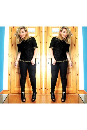sequins vintage top - black Topshop jeans