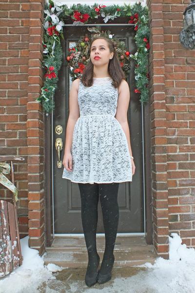 lace dress American Apparel dress - black dress H&M dress - tights Ardene tights