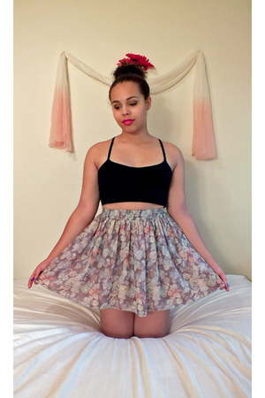 floral American Apparel skirt - knit Forever21 top