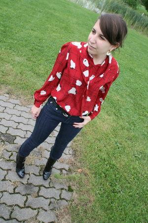 vintage blouse - AG jeans - stuart weitzman boots
