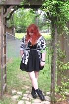black Ebay boots - black Target dress - Walmart cardigan - black Forever 21 belt