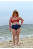 red polka-dot Target swimwear - blue high waisted Fables by Barrie swimwear