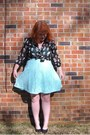 Light-blue-walmart-dress-blouse-black-flats