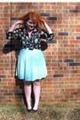 Light-blue-walmart-dress-blouse-black-flats