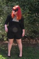 black Mudd pumps - black shorts - black Forever21 cardigan