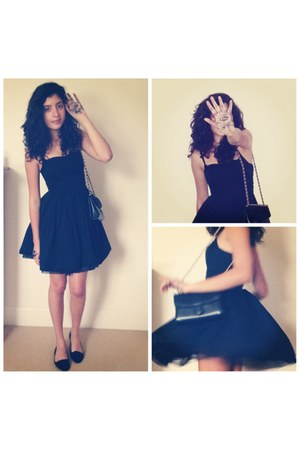 black H&M dress - black vintage bag - black Primark pumps
