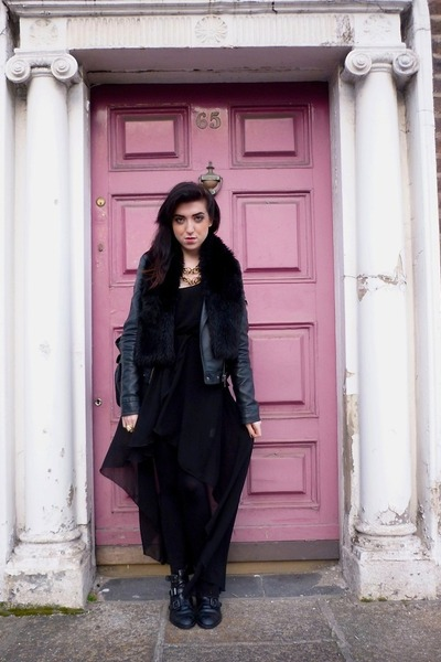 leather jacket Topshop jacket - leather bagoots Office boots - Love dress
