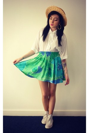 vintage Tunnel Vision skirt - straw Primark hat - vintage vintage shirt