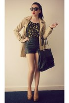 sheer Sugarlips Apparel shirt - trench new look jacket - black H&M bag