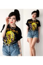 denim vintage Levis shorts - band tee IRON MAIDEN t-shirt