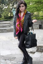 versace for hm H&M scarf - docs doc martens boots - leather Topshop jacket