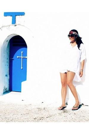 white beach coverup olive olivia shirt - magenta Louis Vuitton scarf - brown Tom