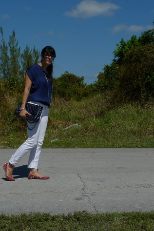 white Jcrew jeans - navy Chanel bag - blue Zara top - ruby red Christian Loubout