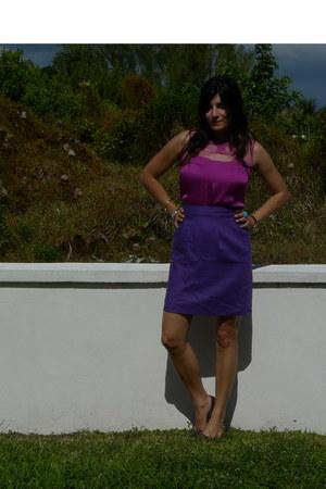 magenta Rodarte for Target blouse - purple vintage dior skirt - turquoise blue u