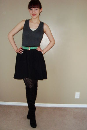 green  belt - black forever young shoes boots - black Target skirt - gray  shirt