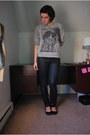 Heather-gray-forever-21-sweater-black-buffalo-pants-navy-queen-vivi-flats