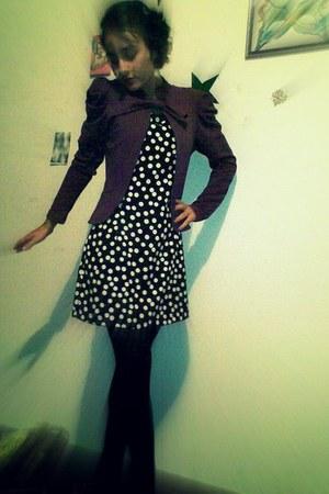 black dress - magenta blazer - black tights - black shoes