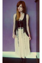 black leather fringed All Saints vest - light pink vintage skirt