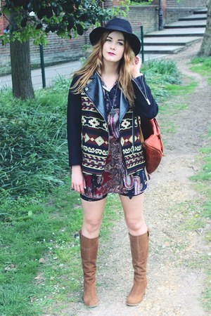 black aztec Zara jacket - brown suede duo boots boots