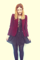 brick red velvet vintage blazer - black floral Topshop dress