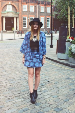 blue patterned Motel Rocks jacket - black fedora H&M hat