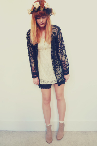 ivory lace OASAP dress - peach glitter H&M boots - black vintage jacket