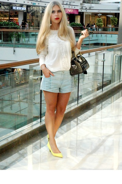 sky blue H&M shorts - light yellow Zara shoes - gray versace bag