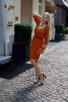 carrot orange Koton dress - burnt orange Stradivarius pumps - cream H&M necklace