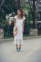 white crochet vintage dress - eggshell Urban Outfitters bag