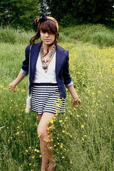 blue blazer - white t-shirt - blue skirt - white purse - gold accessories