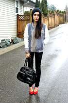 black H&M bag - charcoal gray Sirens jacket - black Sirens pants