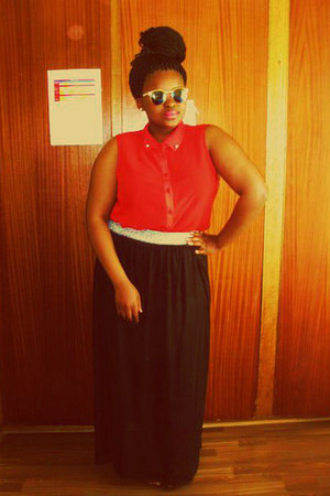 maxi skirt skirt - red-orange shirt - spitsfire sunglasses
