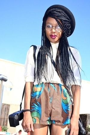 african printed unknown brand shorts - black unknown brand hat