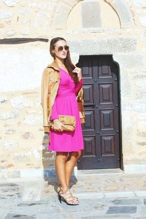 tawny leather jacket Bershka jacket - hot pink wrap dress