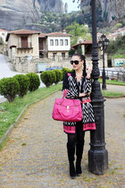 graphic cardigan - black velvet Tally Weijl dress - black Gucci sunglasses