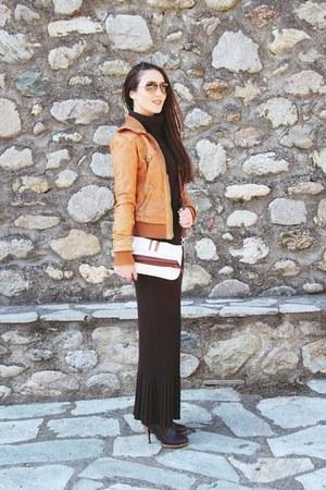 dark brown knitted skirt - tawny leather Bershka jacket