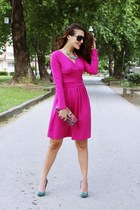 hot pink dresslily dress - black Gucci sunglasses - teal snakeskin Bershka heels