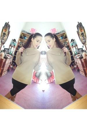 tan knit Bianca sweater - tan boots - black velvet Miss Sixty skirt