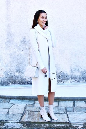 white turtleneck dress - off white booties Zara boots