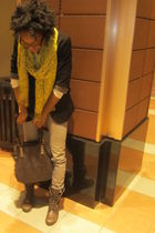 black Forever 21 blazer - BDG jeans - brown Steve Madden boots - Daffys bag