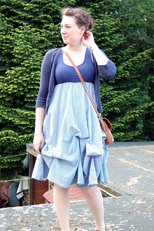 blue dress - blue Fox cardigan - brown flea market purse