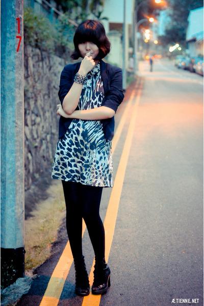 black safari print Topshop dress - navy cropped Topshop blazer
