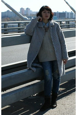 silver wool DIY coat - beige knitted Mango sweater